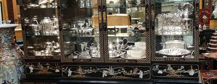 Asian Breakfront, Antique Furniture, China Cabinet